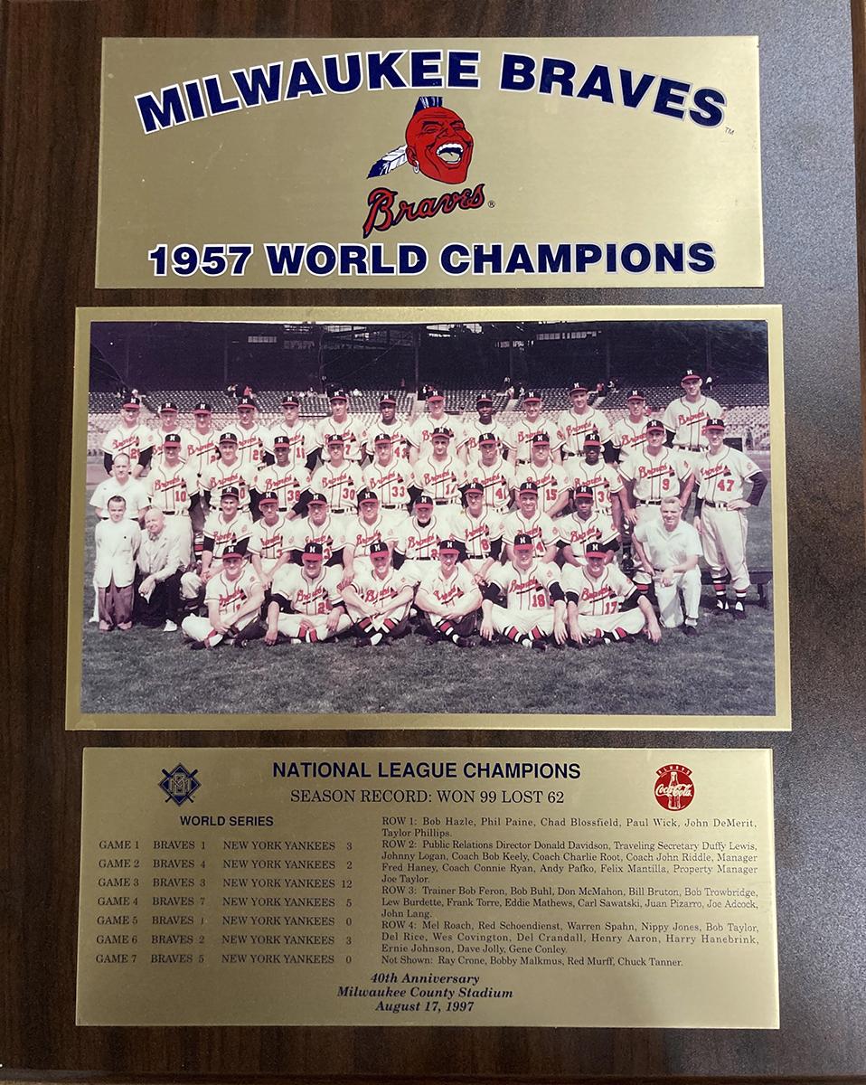 1957 Milwaukee Braves World Series Mounted Team Photo