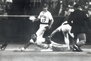 Rickey Henderson steals his 105th base of the season in 1982 (NATIONAL BASEBALL HALL OF FAME LIBRARY)