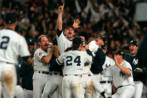 John Wetteland and the Ne York Yankees celebrate winning the 1996 World Series (COURTESY OF MLB.COM