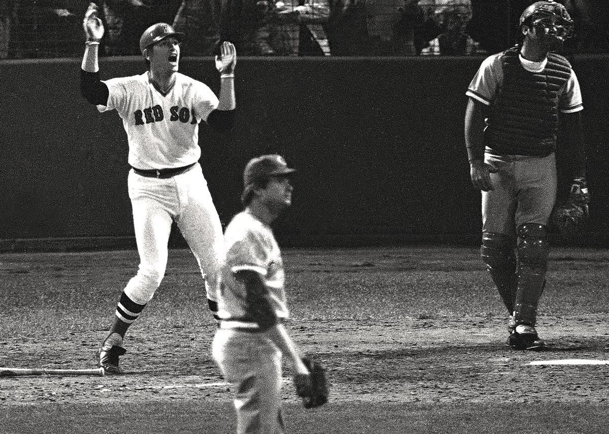 Carlton Fisk waves his game-winning home run fair in Game 6 of the 1975 World Series (BOSTON RED SOX)