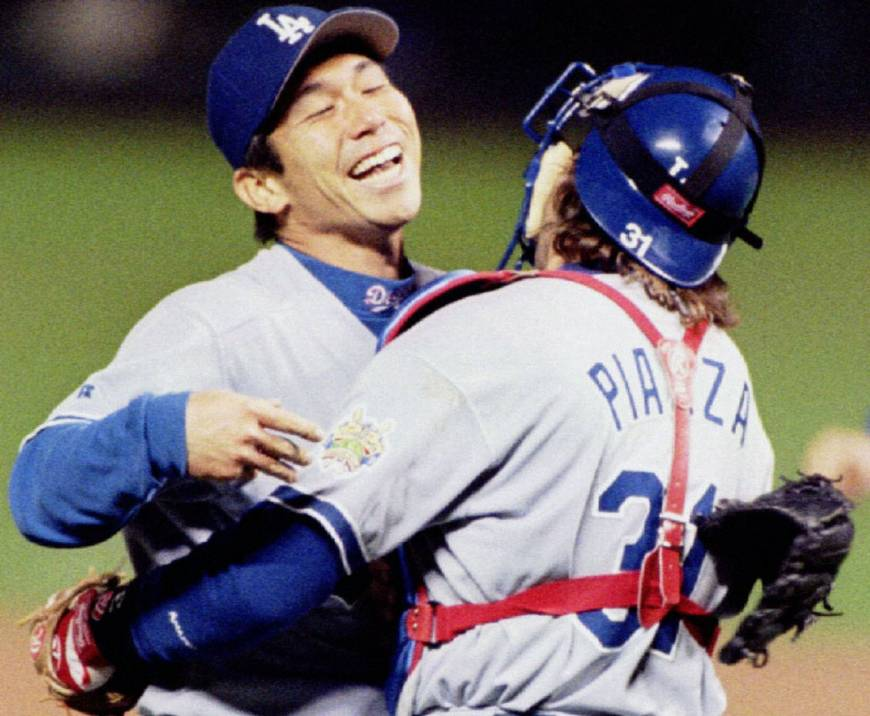 Hideo Nomo celebrates his no-hitter at Coors Field in 1996 (LOS ANGELES DODGERS)