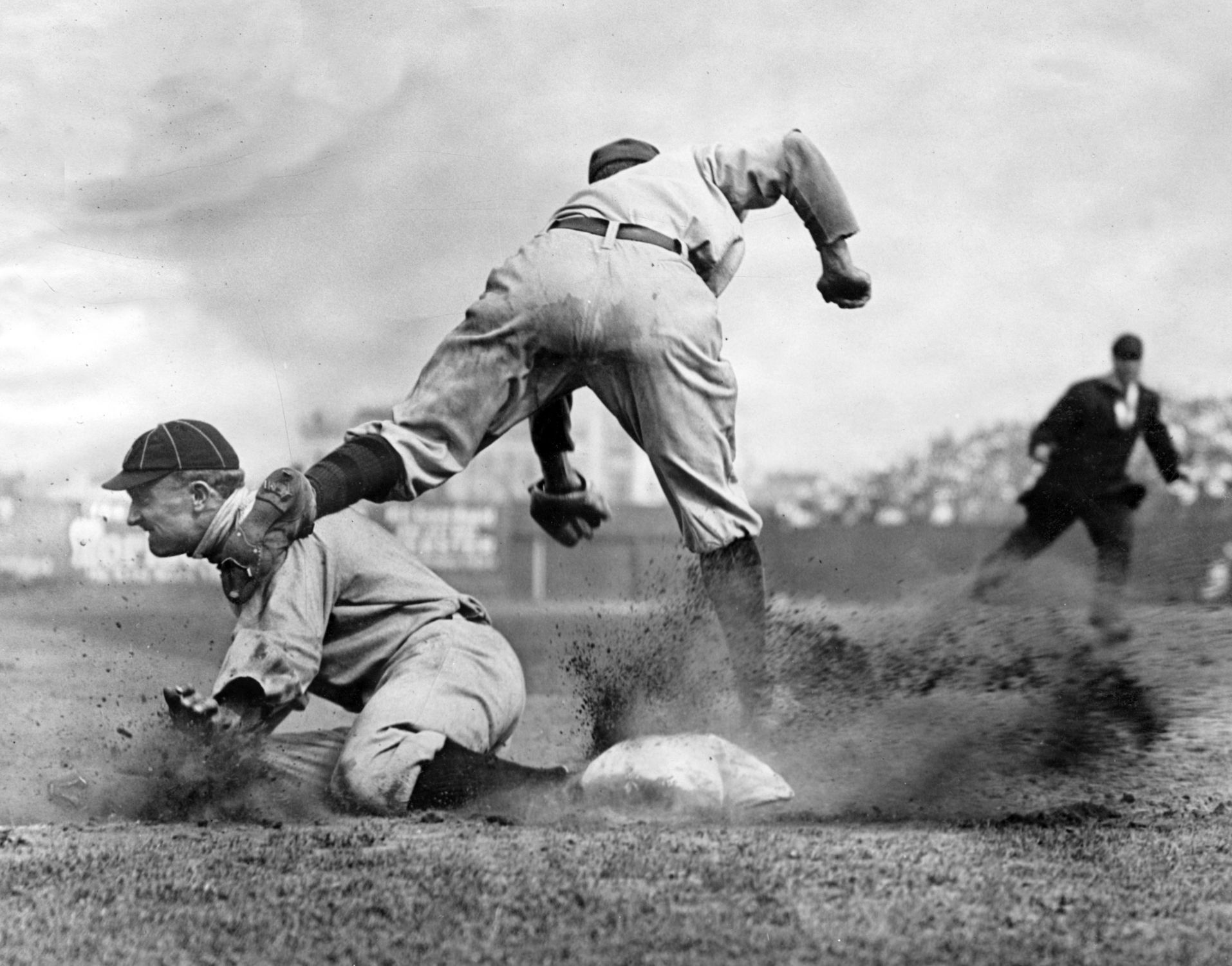 Charles Conlon's iconic photograph of Ty Cobb sliding into third base (NATIONAL BASEBALL HALL OF FAME LIBRARY)