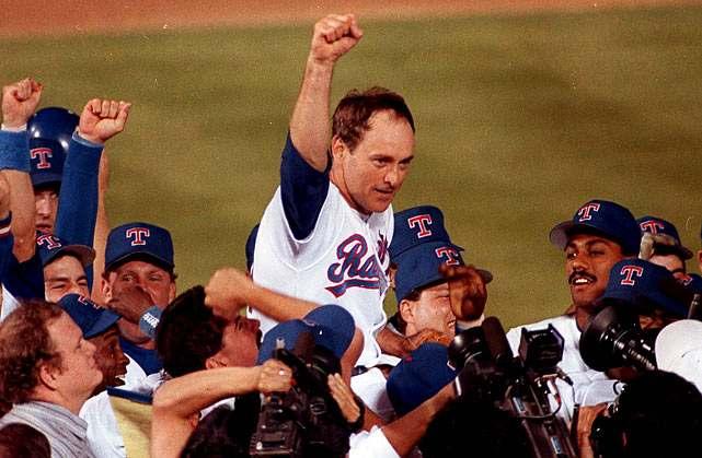 Nolan Ryan celebrates his 7th no-hitter on May 1, 1991 (MLB.COM)
