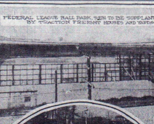 Federal League Park in Indianapolis, looking in from the right-field fence. (Indianapolis News, January 27, 1917)