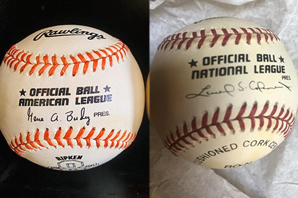 1990s-era American League and National League baseballs