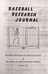 Baseball Research Journal #1 (1972)