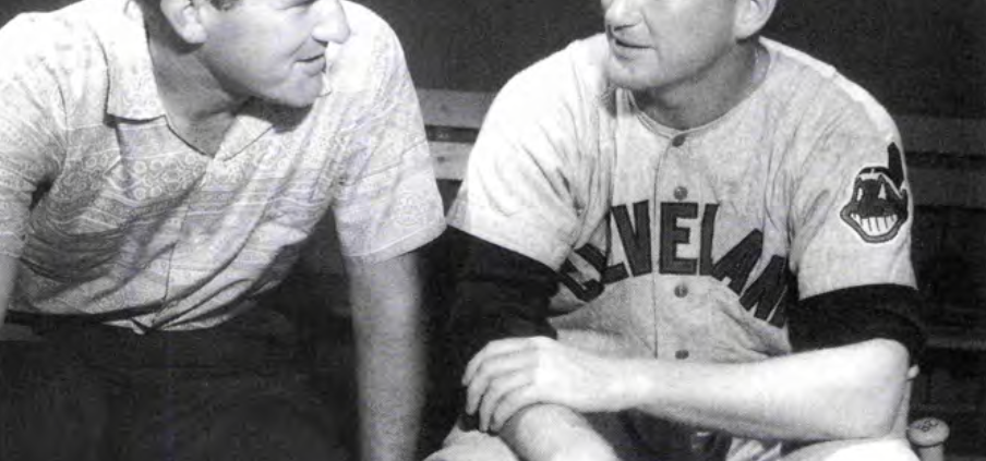 Merle Harmon interviews Herb Score. The 1955 American League Rookie of the Year winner later joined the baseball broadcasting fraternity after his career ended prematurely. (COURTESY OF MERLE HARMON)