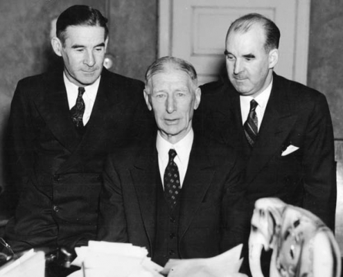 With the election of Connie Mack (center) as president of the Athletics in January 1937, the Mack family, including Earle (left) and Roy (right), now controlled all of the senior leadership positions in the club's front office.