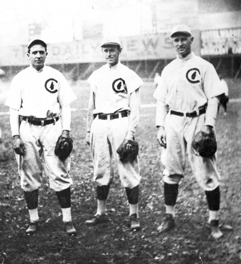 Joe Tinker, Johnny Evers, and Frank Chance of the Chicago Cubs (NATIONAL BASEBALL HALL OF FAME LIBRARY)