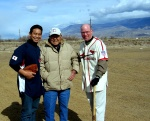 From left: Kerry Yo Nakagawa of the Nisei Baseball Research Project; Pete Mitsui, founder of the San Fernando Aces Japnese-American semipro team; and Jeff Arnett, former director of education at the