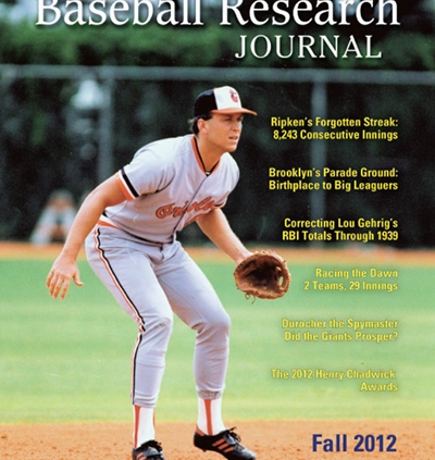 Baseball Research Journal, Fall 2012 (Vol. 41, No. 2)