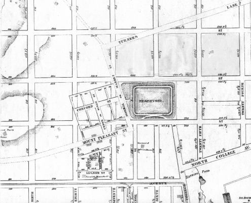 The Jefferson Street Neighborhood in 1860. From 24th Street to where Turner's Lane ends is the ballpark site.