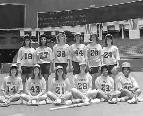 Astros' wives prepare to play their husbands at the Astrodome in 1974.