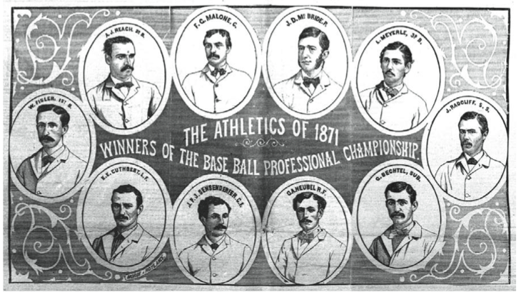 Clockwise from top left: Al Reach, Fergy Malone, Dick McBride, Levi Meyerle, John Radcliffe, George Bechtel, George Heubel, Count Sensenderfer, Ned Cuthbert, Wes Fisler.