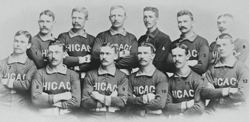 The 1885 National League champion Chicago White Stockings. 1-George Gore, 2-Silver Flint, 3-Cap Anson, 4-Sy Sutcliffe, 5-Mike Kelly, 6-Fred Pfeffer, 7-Larry Corcoran, 8-Ned Williamson, 9-Abner Dalrymple, 10-Tom Burns, 11-John Clarkson, 12-Billy Sunday. (Photo: SCP Auctions/David Kohler)