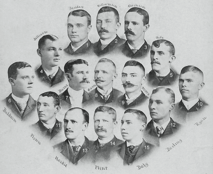 1-Billy Sunday, 2-Ned Williamson, 3-John Clarkson, 4-Marty Sullivan, 5-Shadow Pyle, 6-Mark Baldwin, 7-Tom Burns, 8-Cap Anson, 9-Fred Pfeffer, 10-Jimmy Ryan, 11-Jocko Flynn, 12-Dell Darling, 13-Lew Hardie, 14-Sliver Flint, 15-Tom Daly.