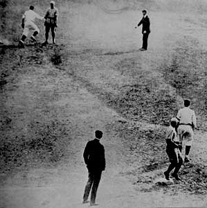 Bill Wambsganss of the Cleveland Indians completes an unassisted triple play in the 1920 World Series