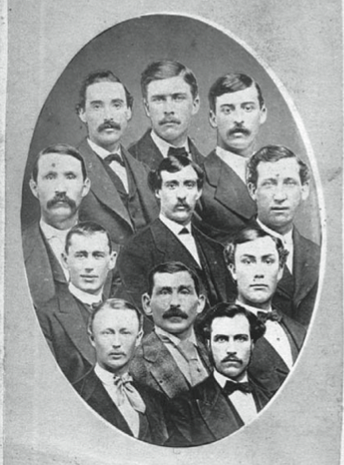 Clockwise from top left: Fred Treacey, Joe Simmons, Ed Pinkham, Bub McAtee, Marshal King, Tom Foley, E. P. Atwater, Charlie Hodes, Ed Duffy. Center top: Jimmy Wood. Center bottom: George Zettlein.