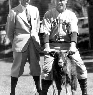 Cubs owner and first baseman pose in 1934 with … a goat. If only they had known.
