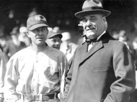 Although on the surface Miller Huggins and Jacob Ruppert seemed worlds apart, the two men had striking similarities. They were the architects of the New York Yankees' dominance in the 1920s. (BOSTON PUBLIC LIBRARY)
