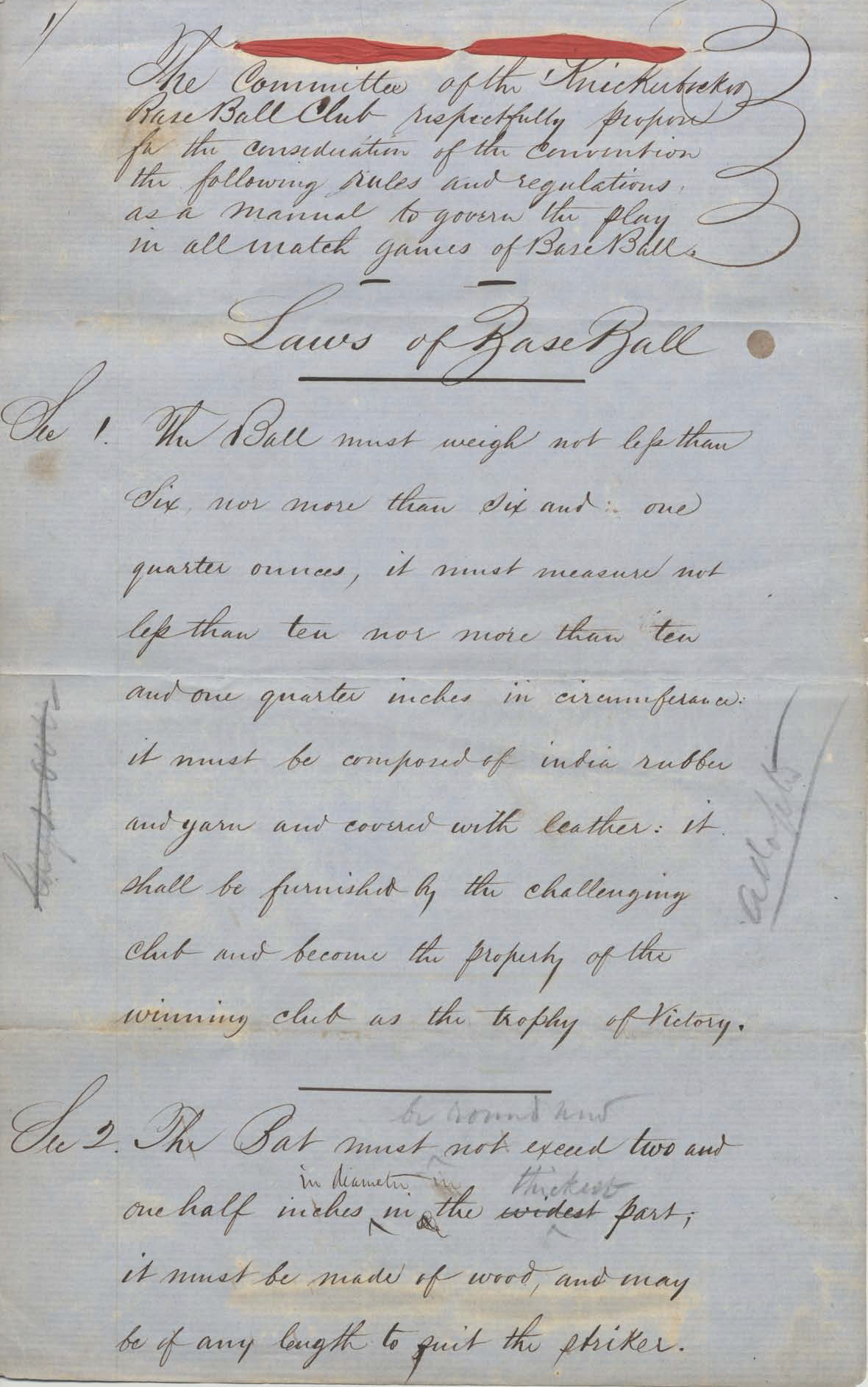 Laws of Baseball, KBBC to Convention, January 22, 1857, page 1 (COURTESY OF JOHN THORN)