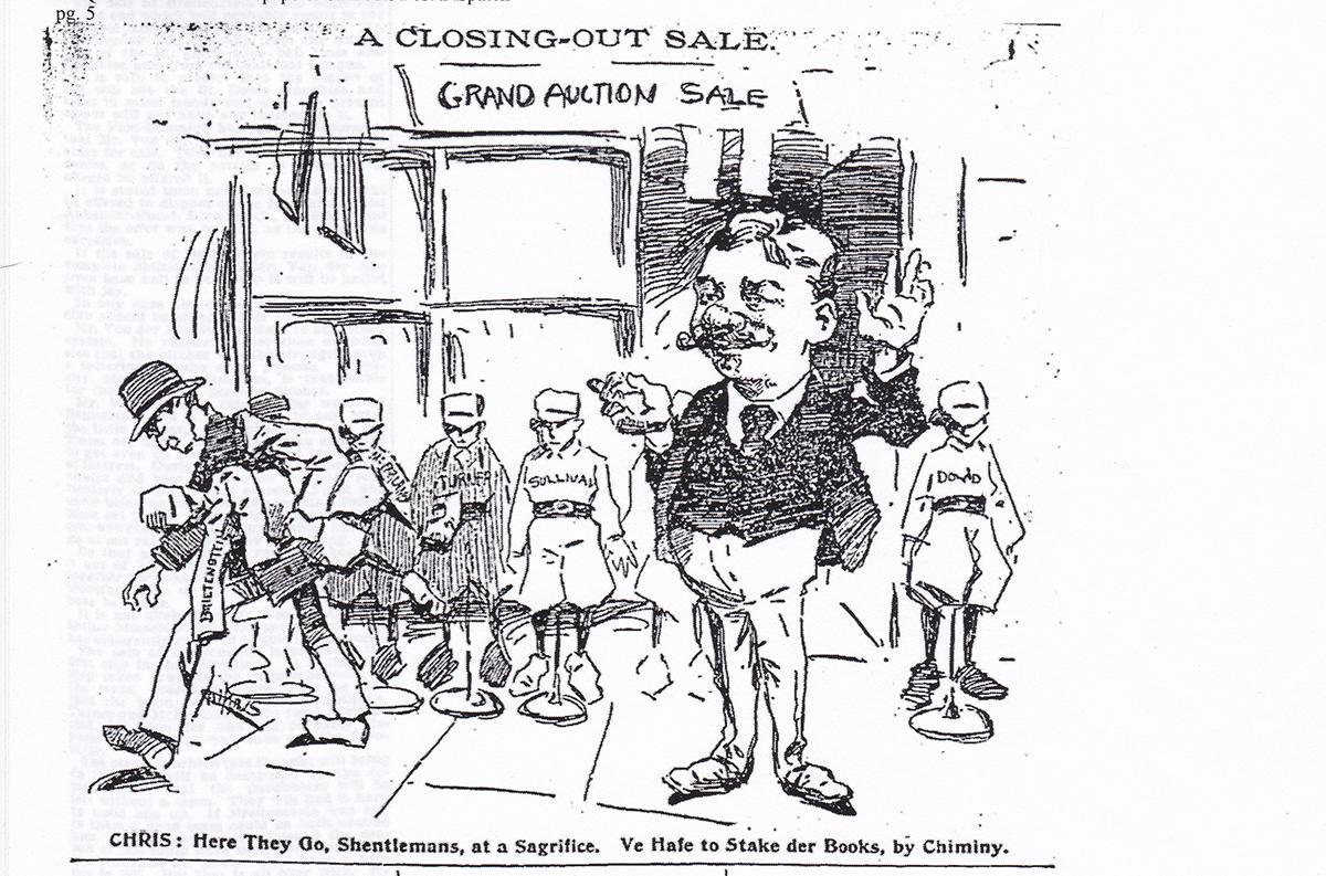October 21, 1896 cartoon on Cardinals owner Chris Von der Ahe (ST. LOUIS POST-DISPATCH)