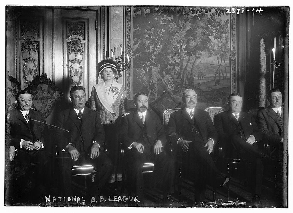 St. Louis Cardinals owner Helene Britton, top center, poses with the rest of the National League team owners at the winter meetings in 1913. (LIBRARY OF CONGRESS)