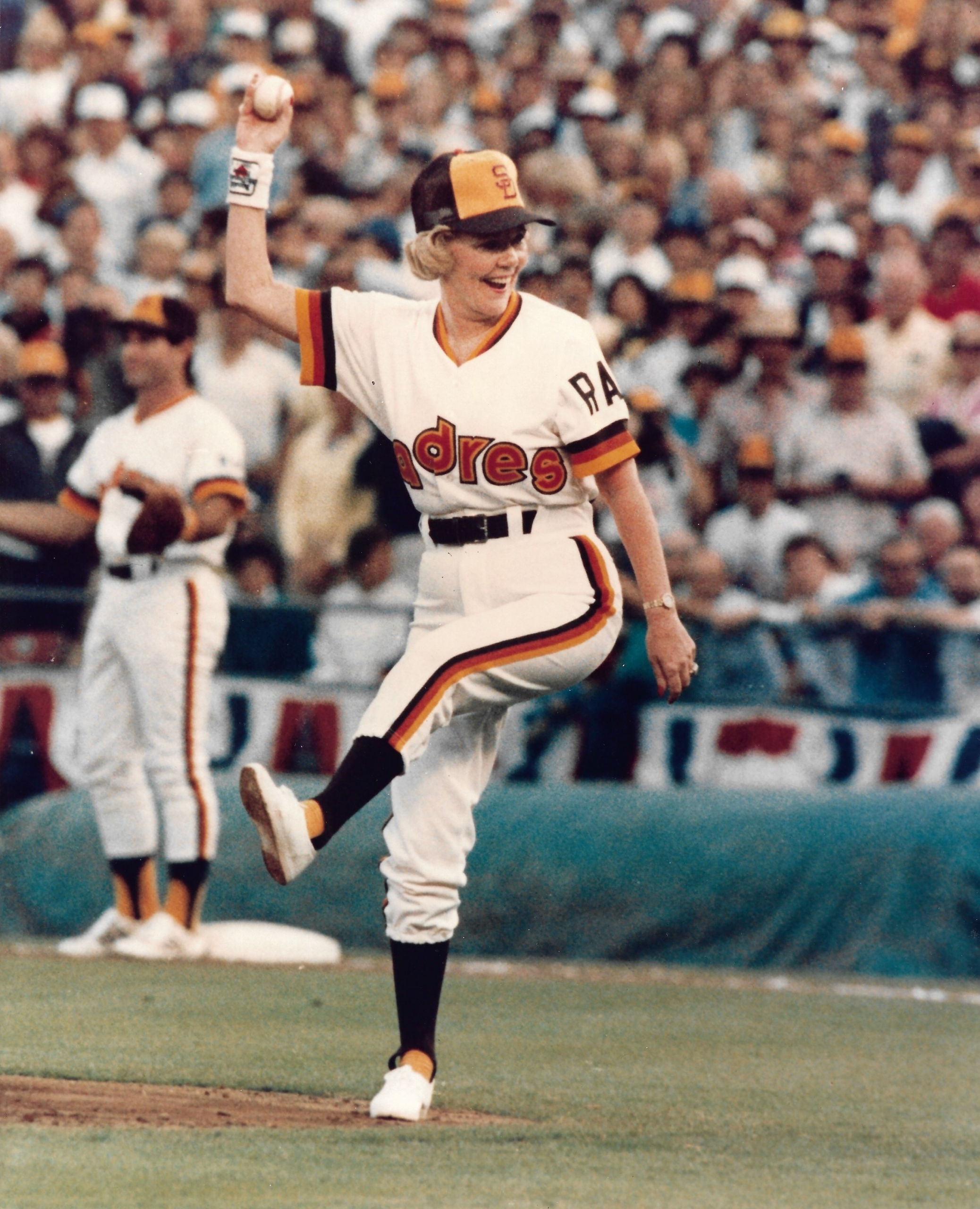 Padres owner Joan Kroc throws out a first pitch during the 1984 NL Championship Series (COURTESY OF ANDY STRASBERG)