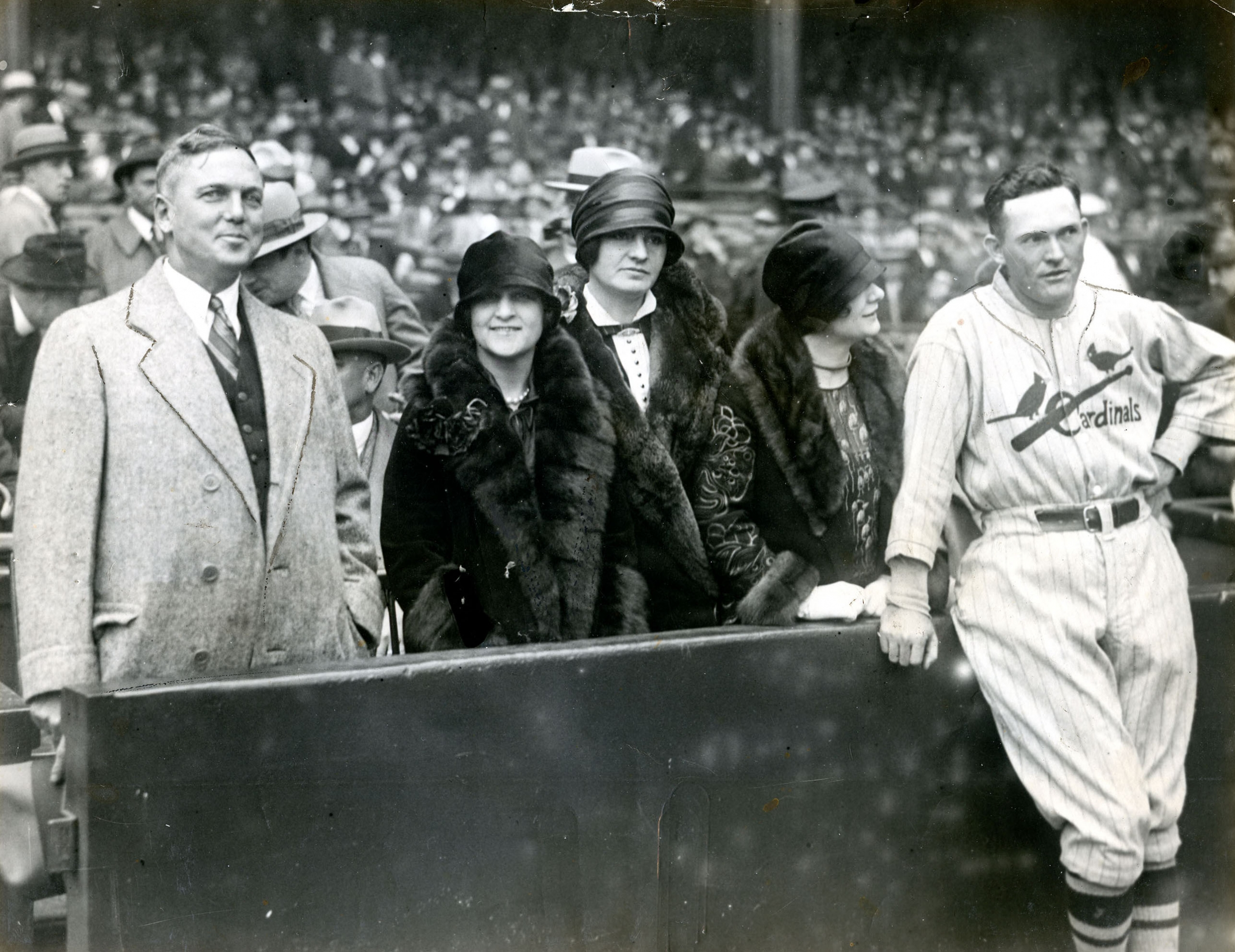 St. Louis Cardinals owner Sam Breadon, far left, and manager Rogers Hornsby, far right, pose for a photo before Game One of the 1926 World Series at Yankee Stadium. Also pictured are, from left: Mrs. William Niekamp, Rachel Breadon, and Jeanette Hornsby. (SABR-OTTOSON PHOTO ARCHIVE)