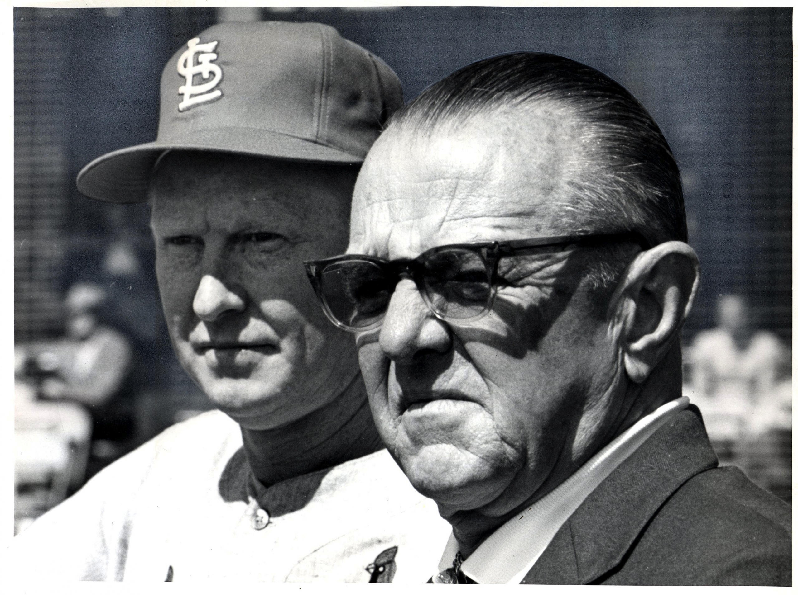 """St. Louis Cardinals owner August A. """"Gussie"""" Busch Jr., right, with manager Red Schoendienst (ST. LOUIS CARDINALS)"""
