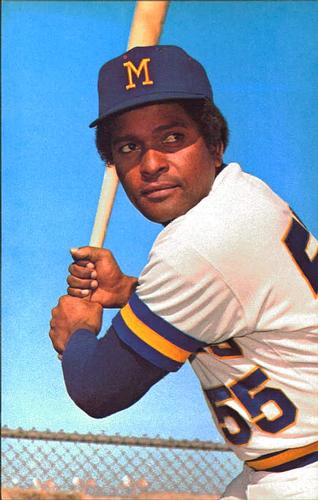 Musician Charley Pride poses with a baseball bat during spring training with the MIlwaukee Brewers in 1973 (TRADING CARD DB)