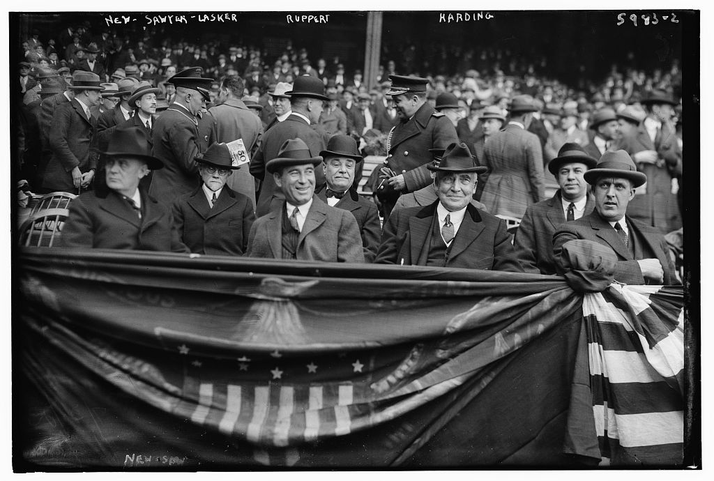 President Warren G. Harding, second from right, attends a game at Yankee Stadium on April 24, 1923, in New York. Also pictured, from left, are Postmaster General Harry New, physician Charles Sawyer, businessman Albert Lasker, and Yankees co-owner Jacob Ruppert. (LIBRARY OF CONGRESS, BAIN COLLECTION)