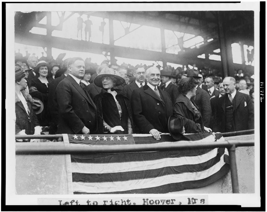 President Warren G. Harding, third from left, attends a Washington Senators game on April 12, 1922, with his wife Florence, second from left, and Vice President Calvin Coolidge, far left, and Grace Coolidge, far right. (LIBRARY OF CONGRESS, NATIONAL PHOTO COMPANY)