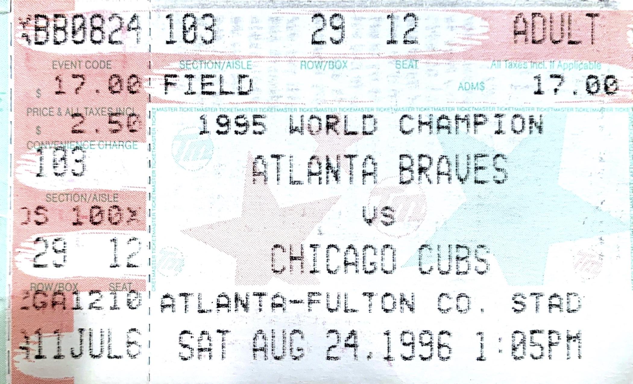 August 24, 1996 ticket stub (MADISON McENTIRE)