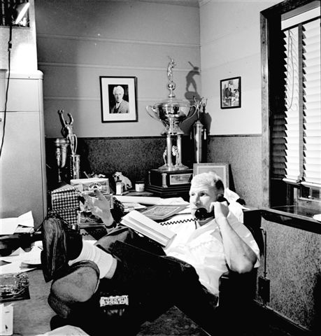 Bill Veeck in his office, Look Magazine shoot (NATIONAL BASEBALL HALL OF FAME LIBRARY)