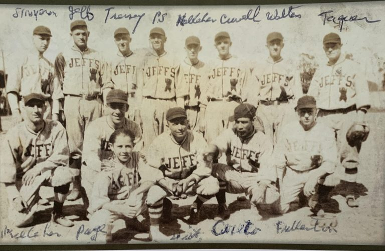 Jeff Tesreau's New York Bears in 1921, from Thomas Smith's book Paddy Smith: Dexter Park's Eternal Firebrand (courtesy of Scott Simkus). Top row, L to R: Walter Simpson, Jeff Tesreau, Dan Tierney, Paddy Smith, Willie or Frank Kelleher, Bobby Crowell, Harry Wolters, Tommy Taguer. Bottom row, L to R: Willie or Frank Kelleher, George Page, mascot, Paul Dietz, Manuel Cueto, Curtis Fullerton.