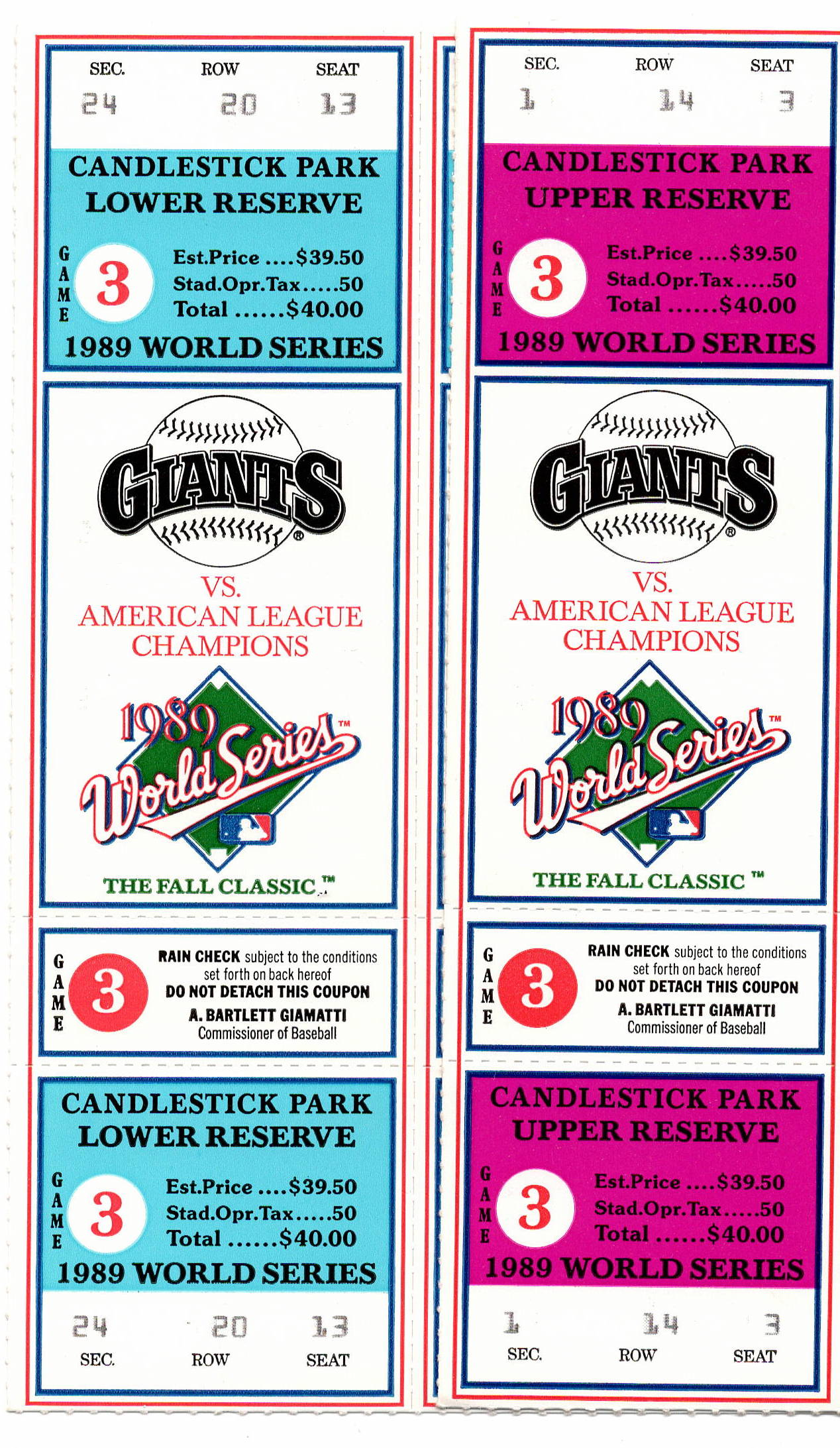 A pair of unused tickets to Game 3 of the 1989 World Series. (COURTESY OF MARK MACRAE)