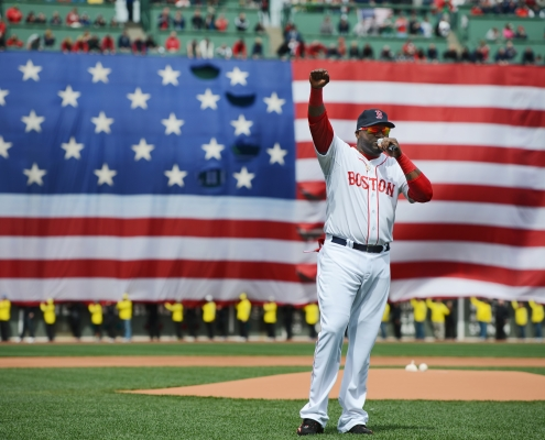 David Ortiz addresses the crowd at Fenway Park on April 20, 2013. (COURTESY OF MICHAEL IVINS / BOSTON RED SOX)