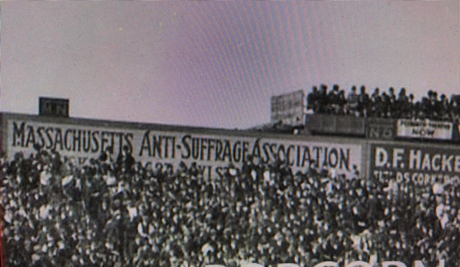Anti-suffrage banner displayed at Fenway Park, Boston Braves vs Philadelphia Athletics, World Series, 1914. (BOSTON PUBLIC LIBRARY)