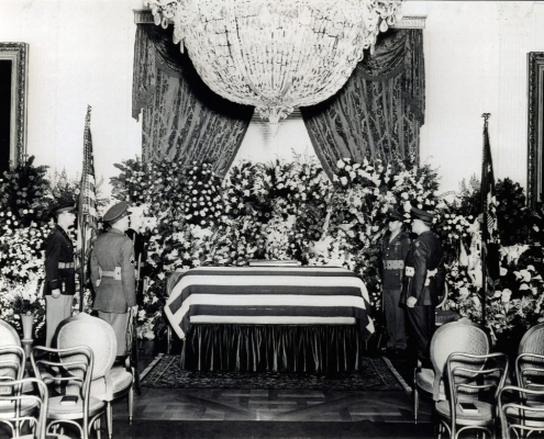 An all services honor guard with President Franklin D. Roosevelt's casket in the East Room of the White House, April 14, 1945. (FDR LIBRARY)
