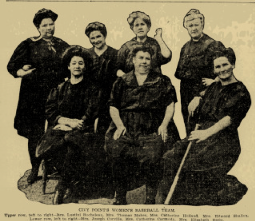 City Point Women's Baseball Team Boston Sunday Post, April 26, 1908:21.