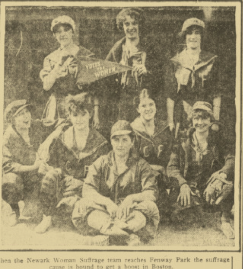 Newark Woman Suffrage team at Fenway Park (Boston Sunday Post, July 11, 1915:41.)