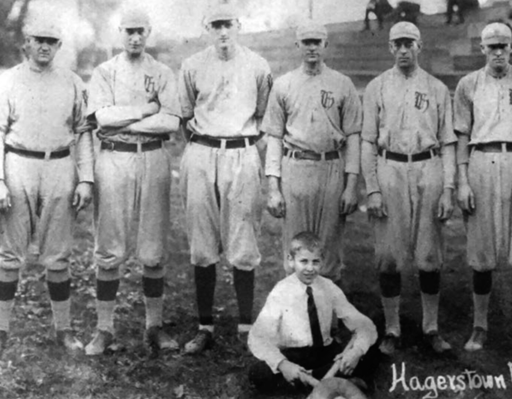 The Hagerstown Hubs, the 1920 Class D Blue Ridge Champions, featured two pitchers from the 1916 Class D Potomac League, Charles Dye (second from left), star pitcher for the Cumberland Colts, and Tommy Verecker (behind seated boy), who starred for the Piedmont Drybugs. Verecker also pitched one game in the Federal League in 1914. (MARK ZEIGLER)