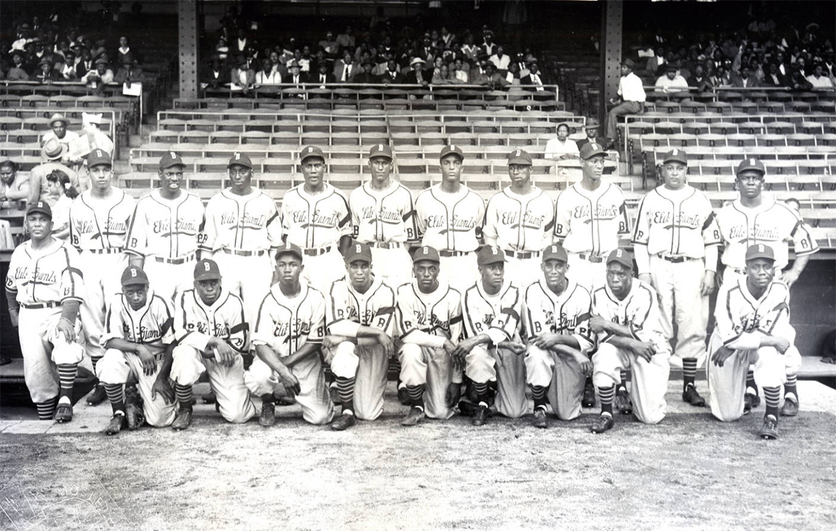 The Baltimore Elite Giants. In the front row, Tubby Scales is on the far left, Junior Gilliam is fourth from the left, and Henry Kimbro is in front on the far right. (TEMPLE UNIVERSITY LIBRARIES)