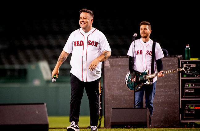 Ken Casey of the Dropkick Murphys performs during the Streaming Outta Fenway performance with no live audience as the Major League Baseball season is postponed due to the COVID-19 pandemic on May 27, 2020, at Fenway Park in Boston. (Photo by Maddie Malhotra/Boston Red Sox)