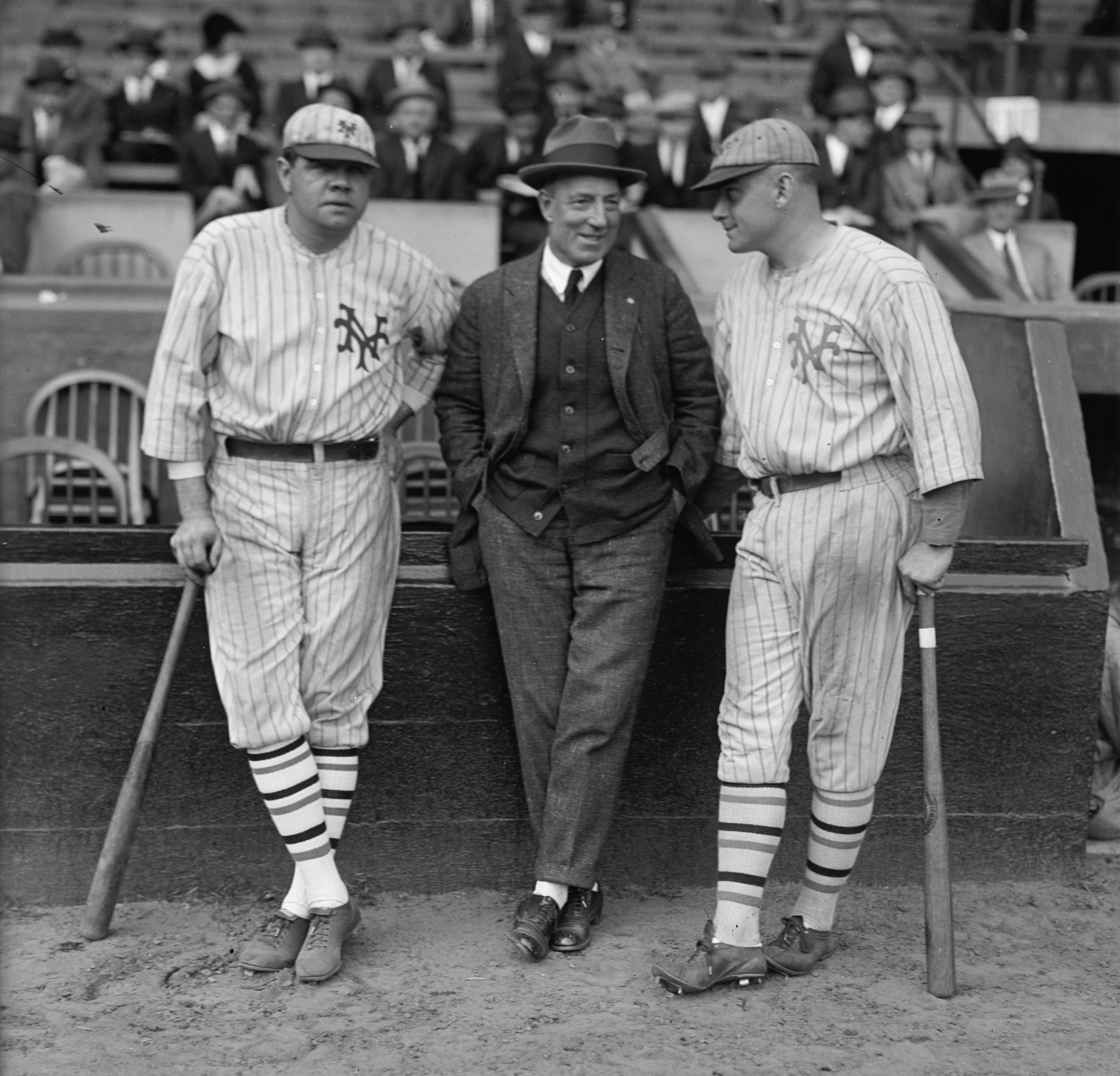Babe Ruth in a borrowed New York Giants uniform, with his former owner Jack Dunn (and Giants player Jack Bentley), before the October 3, 1923, exhibition game between the Giants and the Dunn's International League Orioles. Ruth, who was a star with the Yankees by then, was enticed to play to be a gate draw. The game's proceeds went to fundraising for former Giants owner John B. Day and former manager Jim Mutrie. (LIBRARY OF CONGRESS)