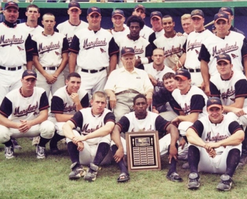 2000 AAABA Champion Maryland Orioles with General Manager Walter Youse (center) and Manager Dean Albany (standing far left second row). (GREG PAUL)