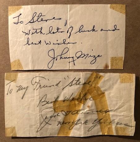 Johnny Mize and Jack Kramer autographs (STEVEN C. WEINER)