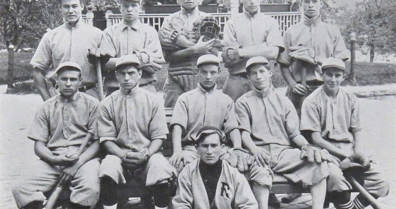 Schoolboy Babe Ruth (with catcher's gear) pictured with his team from St. Mary's Industrial School, and three of the Xaver- ian brothers who ran the school (in the gazebo). (PUBLIC DOMAIN)