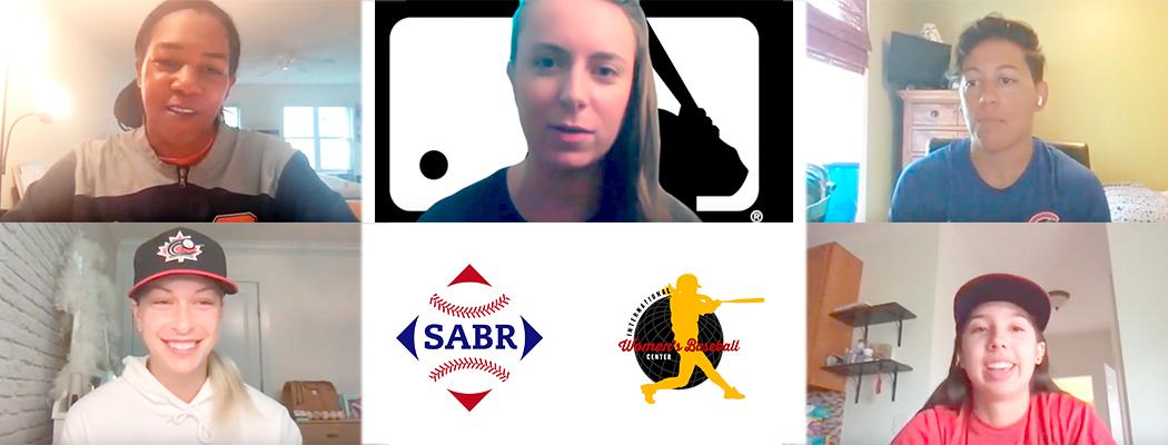 2020 SABR/IWBC Women in Baseball Player Panel: Bianca Smith, Elizabeth Benn, Rachel Folden, Marika Lyszczyk, and Madison Femia